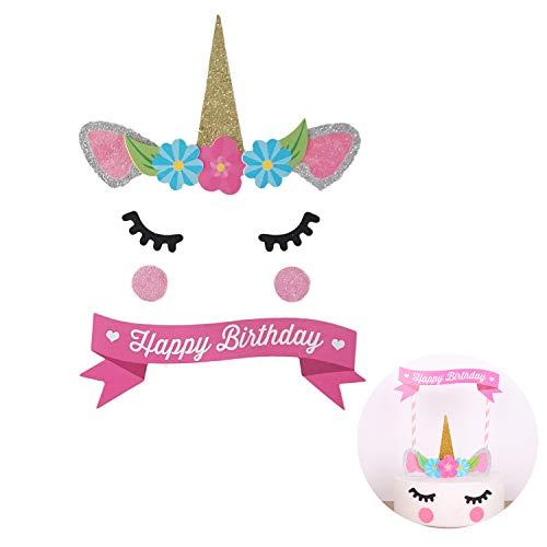 JINMURY Unicorn Cake Topper mit Wimpern und Blumen Party Kuchen Dekoration Zubehör für Geburtstagsfeier, Hochzeit, Babyparty