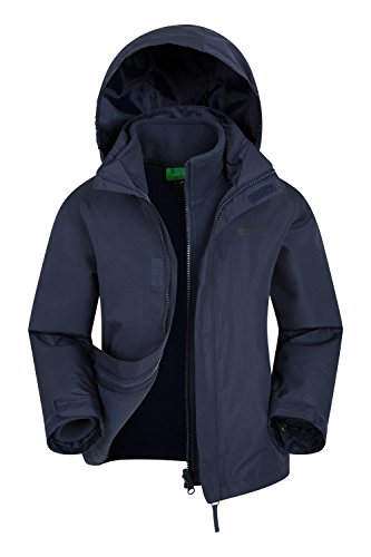 Mountain Warehouse Fell Wasserfeste 3 in 1 Kinder Winterjacke, Mit Warme Fleecejacke, Regenjacke, Jungen, Mädchen, Funktionsjacke, Doppeljacke, Übergangsjacke Marineblau 164 (13 Jahre)