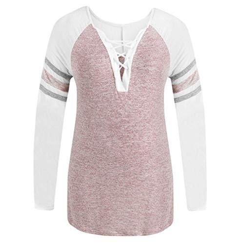 JUTOO Frauen Casual Verband Langarm Plus Size Top Patchwork T-Shirt Bluse(Rosa,EU:46/CN:XL)