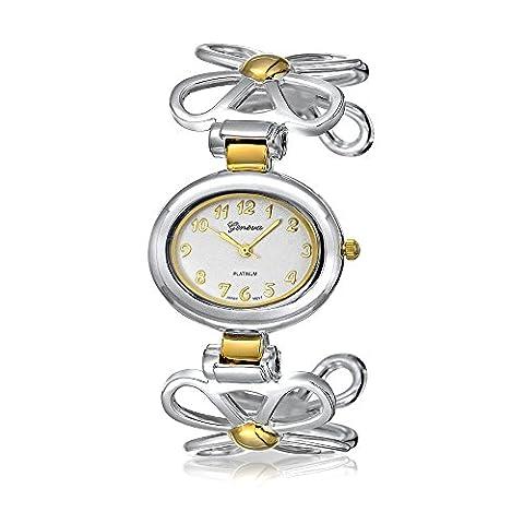 Bling Jewelry Genf Zwei Ton Daisy Flower Vergoldete Mode Manschette Watch