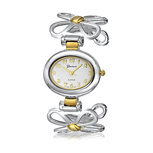 Bling Jewelry Öffnen Daisy Flower Band Weiße Ovale Zifferblatt Manschette Armbanduhr Für Damen Silber Vergoldet Ton Metall Quarz