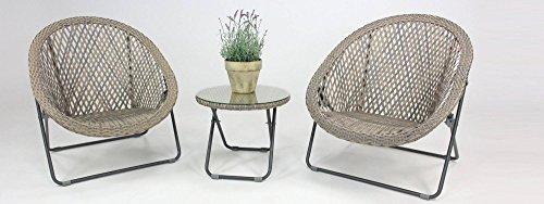 eazilife Faux Rattan Klappstuhl Gartenstuhl Bistro Lounge Set mit passendem Glas Top Kaffee Tisch & 2Stühle–Clay grau