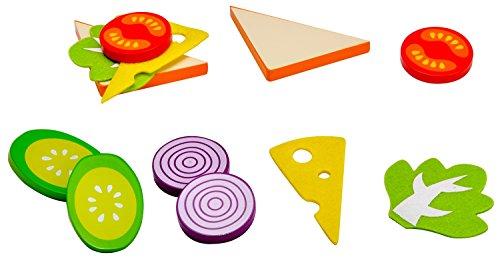 Idena 4100105 - Kleine Küchenmeister Sandwich - Set aus Holz und Filz, 12 teilig, circa 15 x 10 x 4 cm