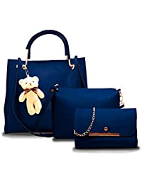 Fargo PU Leather Latest Handbags For Women's Ladies Combo Of 3 (Blue_Teddy_FGO-249) Price in India