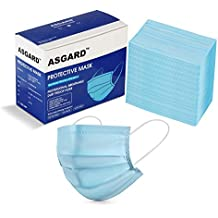 ASGARD 3 Layer Protective Face Mask with NOSE CLIP, Certified by CE, ISO & GMP with Bacterial Filtration Efficiency(BFE)≥98.5%, (Blue, BOX SEALED PACKAGING)