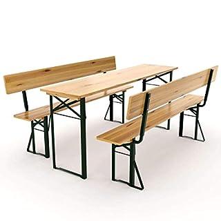 Avanti Trendstore - Lima - Festzeltgarnitur aus lackiertem Massivholz mit Rückenlehne, sehr robust und langlebig, ideal für deinen Garten oder Terrasse. Maße Tisch: 180x75x60 cm, Bänke: 180x45x25 cm