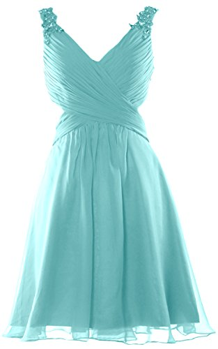 MACloth Women Strap V Neck Short Prom Homecoming Dress Wedding Party Formal Gown Türkis