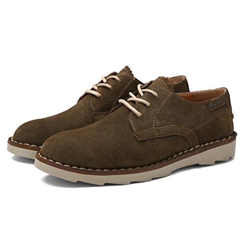 Heart&M chaussures casual en cuir véritable coupe-bas velours hommes patineur Khaki