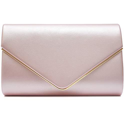 Vain Secrets Damen Umhänge Tasche Clutch Abendtaschen in vielen Farben (22 cm Lang - 13 cm Hoch - 6 cm Breit, Rosa Metallic PU) -