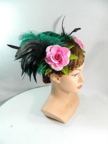 2 Fascinator rosa grün Federn Kopfschmuck Tribal Fusion Haarschmuck Tanz Kostüm Showgirl (Burlesque Kostüme Tänzerinnen)