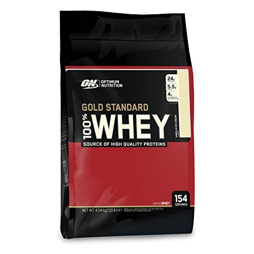 Optimum Nutrition ON Gold Standard Whey Protein Pulver, Eiweißpulver Muskelaufbau mit Glutamin und Aminosäuren, natürlich enthaltene BCAA, Vanilla Ice Cream, 146 Portionen, 4.54kg
