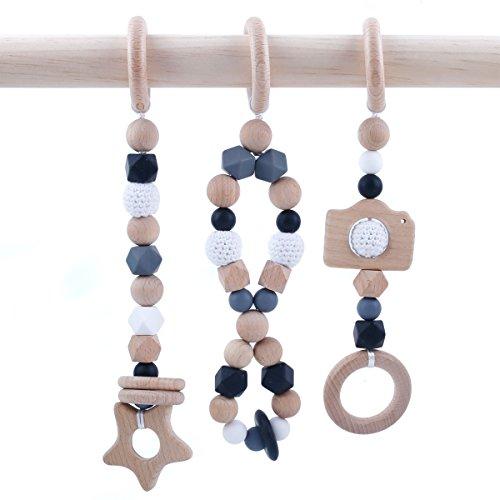 baby tete Jouets en Bois pour Bébé Jouets Hochets Organiques Sans BPA Crocheter des Perles de Dentition 3pcs