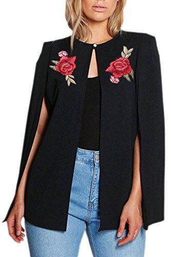 La Femme Est Élégant Brodés Avant Ouvert L'automne Châle Poncho Veste Blazer Trenchcoat Black