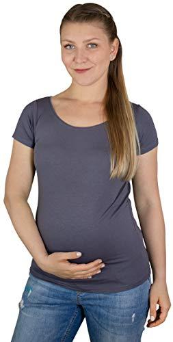 Evagreen Umstandstop   Mutterschaft-Trägertop, Maternity-T-Shirt und Schwangerschaft-Langarmshirt   Umstandsmode für die Stillzeit (M, T-Shirt Dunkelgrau) - Mutterschaft Shirt