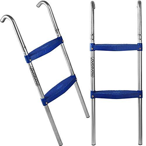 Deuba Trampolinleiter Leiter Einstiegsleiter Gartentrampolin | 90 cm | 2 Stufen | für 305 cm Trampolin mit Höhe 65 cm