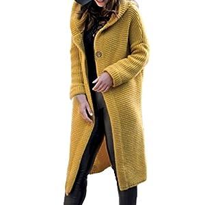 Battnot-Damen Strickjacke mit Kapuze Lange Warm Solide Grün Herbst Winter Elegant Freizeit Strickpullover Mantel, Frauen…