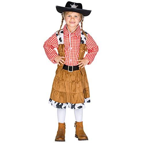 Mädchenkostüm Cowgirl | Traditionelles Kostüm inkl. wundervollem Gürtel (12-14 Jahre | Nr. 300548) (Traditionelle Cowboy Kostüm)