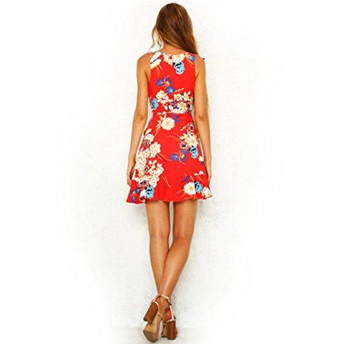 Sexy Sleeveless V Neck Floral Beach Dress, Irregular Hem Sundress Evening Party Cocktail Dress