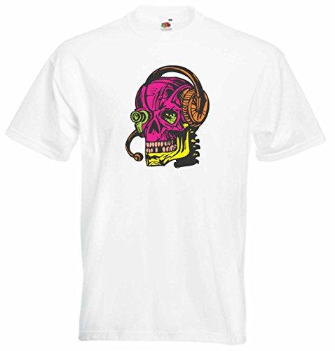 T-Shirt Herren Schädel Musik hören Weiß