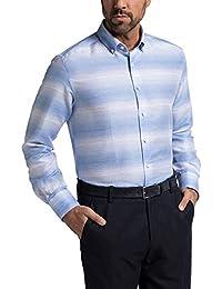 203d7f38d595 eterna Herren Langarm Leinen Hemd Modern Fit Button-Down-Kragen blau weiß  gestreift
