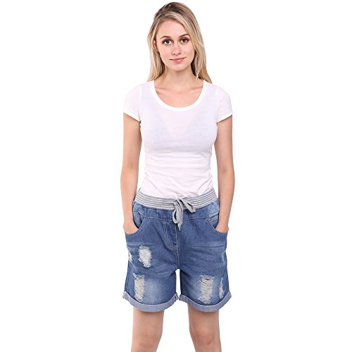 Sidiou Group Pantaloncini di Taglia Grossa per Donna Pantaloncini di Denim con Fori per Donna in Estate Pantaloncini/Jeans Sottile & Dritto con Fianchi (XL 34)