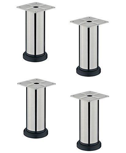 Gedotec Möbelfuß LISA verstellbar Sockelfuß Metall Verstellfüße aus Stahl | Höhe 150 mm | Sofa-Fuß mit Höheneinstellung + 20 mm | Chrom poliert | 4er Set - Kommoden-Füße höhenvestellbar mit Platte