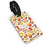 Schönes Fast Food Muster, PVC Gepäckanhänger, Namensschild, Adresse, Reisegepäck