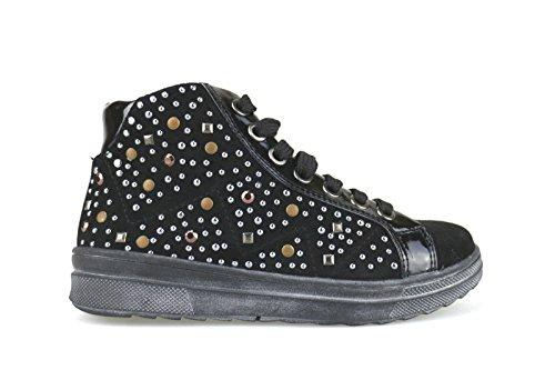 DIDI BLU sneakers bambina con lacci e cerniera nero camoscio AH137 (30 EU)