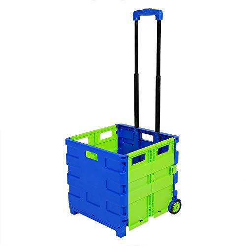 E-starain 64 L Einkaufstrolley Einkaufswagen klappbar bis 35kg, Einkaufstransportwagen Klappbox Shopping Trolley Faltbox mit Rollen,Blau-Grün