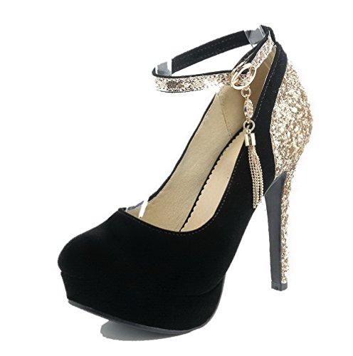 AllhqFashion Damen Blend-Materialien Gemischte Farbe Schnalle Hoher Absatz Pumps Schuhe Schwarz