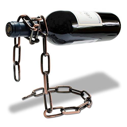 VENKON - Weinflaschenhalter Kette Weinständer Metall Hängeweinregal - 19 x 15 x 14 cm - Farbe: Bronze