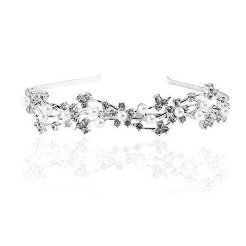 UEETEK Hochzeit Braut Strass Perle Haarschmuck Diademe Tiara haarband Haar Schleife (Silber)