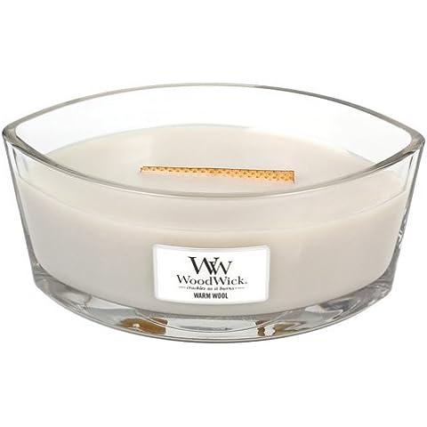 WoodWick® Candela ellittica nel vetro fragranza LANA CALDA