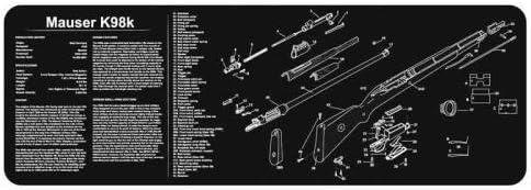 TekMat Reinigungsmatte für Feuerwaffen, lang, K-98-Aufdruck, 30,5 x 91,4 cm, Schwarz