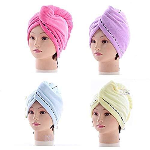 4 PC Haartrockentuch Turban Handtuch,Nourich Mikrofaser Wrapped Towel Lange Haare Wrap Bade Cap Duschhaube Haarturban Saugfähigen Schnell Trocknende Hüte Kopfhandtuch Kopftuch Tuch (Mehrfarbig)