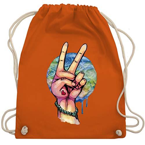 Statement Shirts - World Peace Aquarell - Unisize - Orange - WM110 - Turnbeutel & Gym Bag - Orange Aquarell