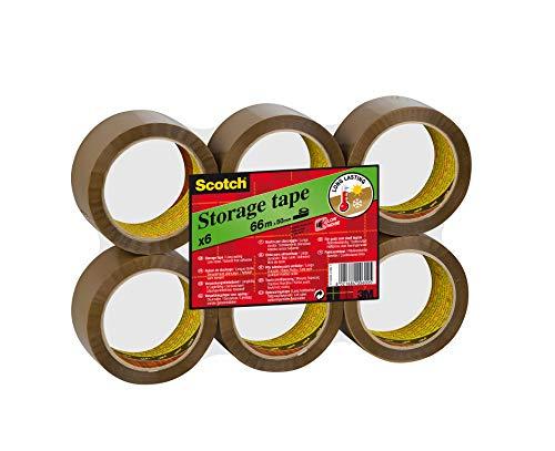 Scotch Low Noise Cinta de embalaje - Cinta adhesiva para almacenamientos y envíos, desenrollado silencioso, 50mm x 66m - 6 rollos, color marrón