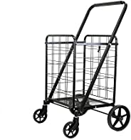 Black Heavy Duty Portable Folding Shopping Utility Cart Trolley