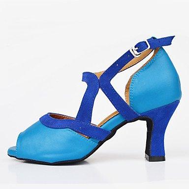 XIAMUO Anpassbare Frauen Wildleder Sohle Satin Schuhe Modern/Salsa/Latin/Swing Schuhe Ferse schwarz Latin Dance Sneakers/Tap Blau