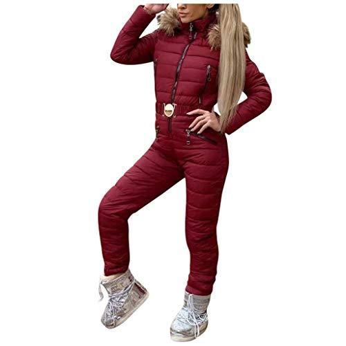 Sllowwa Damen Skianzug Winter Warm Schneeanzug Snowboard Overall Schneeanzug Außen Sports Hose Ski Anzug Overall Ausziehen Einfach M-2XL(Wein,L)