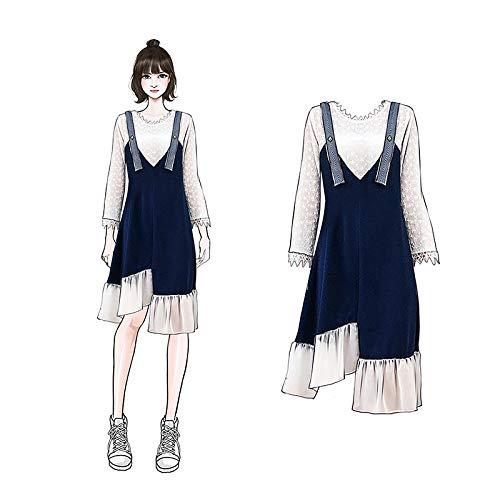GMAYNLYQ Großformat Damen Herbst Spitze gehäkeltes Kleid mit Rüschen (Pullover Spitze Gehäkelte)