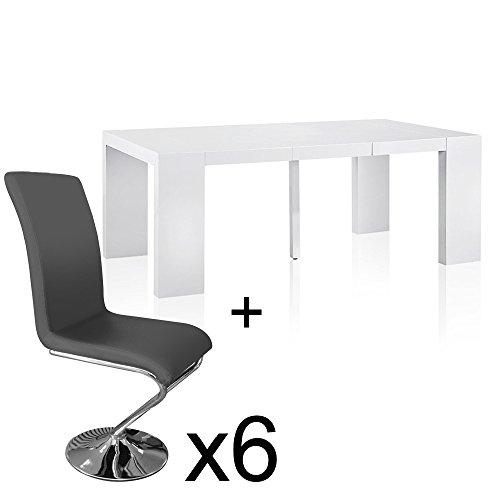 INTENSEDECO Table Extensible Blanc laqué + 6 chaises Colami Gris