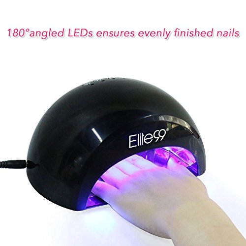 41jzvBLAUyL - LED Nail Lamp Kit, Elite99 12W Black Professional Nail Dryer Machine Fast Curing LED Gel with 4 Timers Presets (30s, 60s, 90s, 30min) , UK PLUG, + FREE GEL NAIL POLISH TOP BASE COAT SET, Safer for Nails and Skin Than Traditional UV Nail Lamps