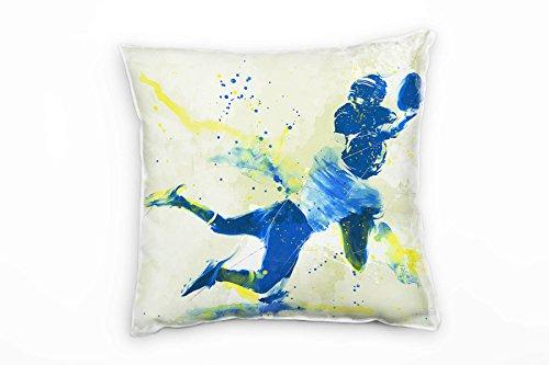 Paul Sinus Art American Football I Deko Kissen mit Füllung 40x40cm für Couch Sofa Lounge Zierkissen - Dekoration zum Wohlfühlen Hergestellt in Deutschland