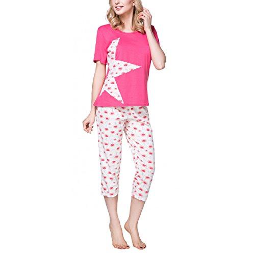 Alkato Damen Schlafanzug Capri-Pyjama Set Sternmotiv, Farbe: Blumen Koralle, Größe: 40 (Set Capri-baumwoll-pyjama)