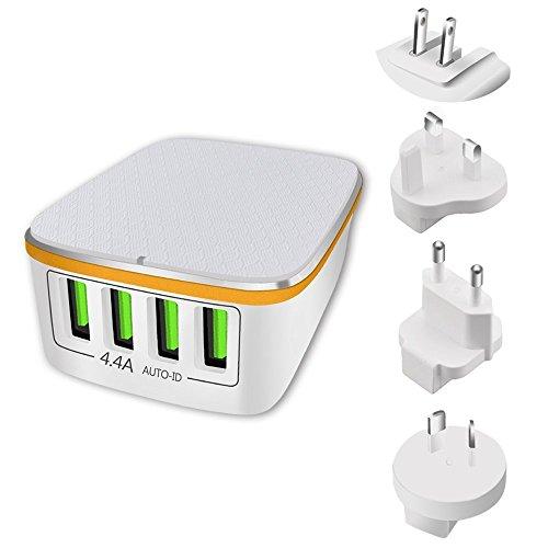 P International Chargers Reiseadapter, 4 USB Ladegerät Lade Stecker Adapter, 22W/4.4A Netzteile mit 4 USB Ladeports und US/UK/EU/AU Stecker für iPhone 8/7/6/Plus & Handy, Tablet, - Uk Ladegerät