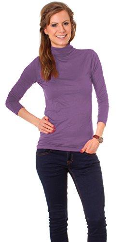 Easy Young Fashion Basic Damen Langarm Shirt Rollkragen One Size flieder violett