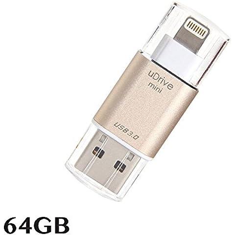 Memoria USB para iPhone y iPad [USB 3.0] [certificado Apple MFi], memoria USB portátil con conector lightning (64 GB)