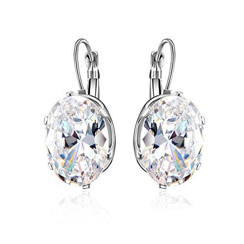 AIUIN orecchini moda zircone brillante orecchini per ragazze donne gioielli x 1paio, con borsa di gioielli e Platino, colore: Oval, cod. VN202082