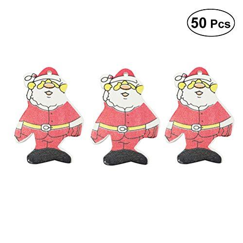 BESTOYARD Weihnachten Weihnachtsmann Gemusterten hölzernen Puppe Anhänger Weihnachtsschmuck Baum Kleiderbügel DIY Handgemachte Ornamente 50PCS -